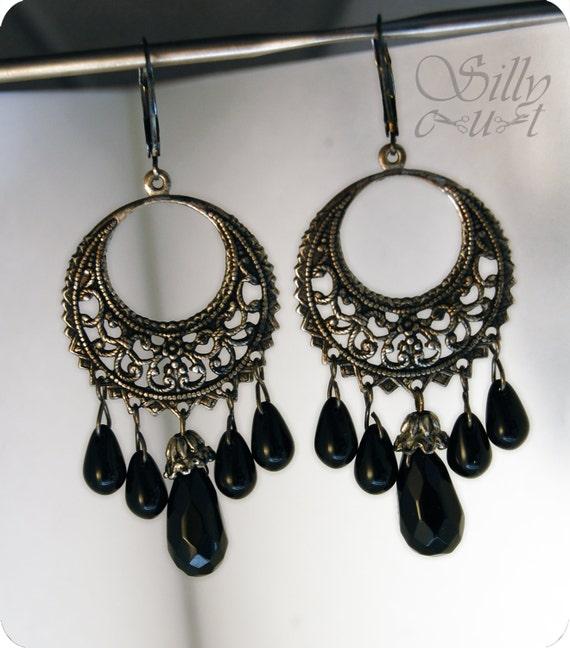 earrings - Black Tears- - - gothic, vagabond, hobo, fortuneteller, mystic, ooak... - - - EtsyDarkSide