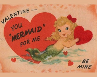 vintage mermaid valentine illustration digital download