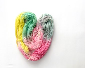 Extra virgin wool yarn hand-dyed, 100 gr 3.5 oz, yellow pink green light-blue, self striped yarn by  lafiabarussa