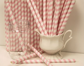 Paper Straws,  25 JUMBO Pastel PInk Striped Milk Shake / Smoothie Straws with DIY flags, Jumbo Round Straws, Party, Thick, Ice Cream Straws,