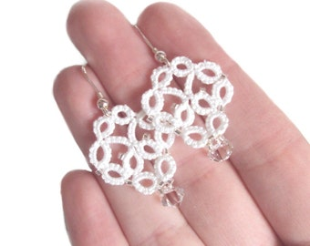 White Lace Earrings - Bridal Earrings in Tatting - Alexandra