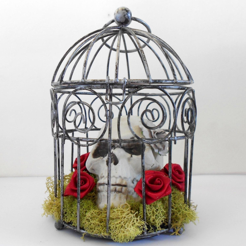 Gothic Decor Miniature Bird Cage Skull Decor