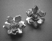 Vintage Earrings Clip On - Silver Flower with Aurora Borealis Center
