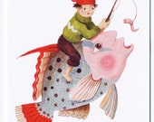 Greeting card - Boy on Fish