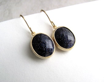 50% off everything! Last pair! Midnight galaxy earrings, faceted glass on 14k gold fixtures, blue goldstone