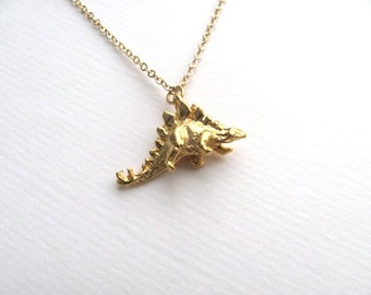 Gold dinosaur charm, 18k gold plated stegosaurus necklace on 14k gold plate chain