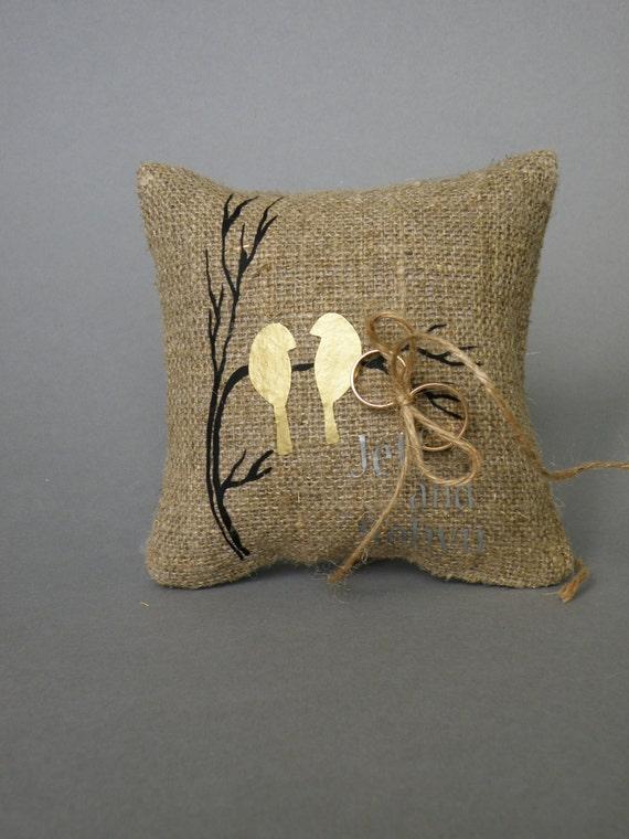 wedding rustic linen ring bearer pillow gold by