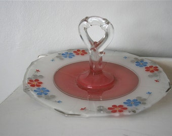 1920s Pink & Blue Floral Painted Czech Glass Handled Serving Plate