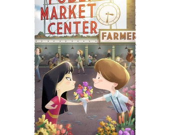 Pike's Place Seattle Flower Market | Fine Art Print | Young love at the market, Children's, Nursery Room Art | Flimflammery