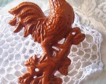 Cast  Iron Rooster/ Chicken  Hook Hanger  / Towel Holder/ Orange /New Color