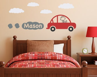 Personalized Car Decal with Boys Name - Boy Bedroom Wall Sticker - Vinyl Wall Decal - Children Wall Decals