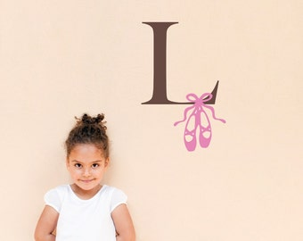 Initial Wall Decal with Ballet Slippers - Girl Bedroom Decal - Medium