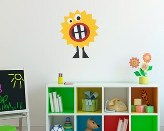 Monster Wall Decal - Silly Monster Wall Decor - Children Wall Decals - 1