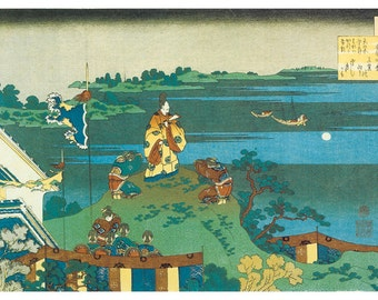 Hand-cut wooden jigsaw puzzle. WATCHING MOON on HILL. Hokusai. Japanese woodblock print. Wood, collectible. Bella Puzzles.