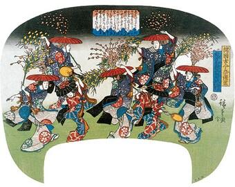 Hand-cut wooden jigsaw puzzle. MOCHIBANA DANCE FESTIVAL. Hiroshige. Japanese woodblock print. Wood, collectible. Bella Puzzles.