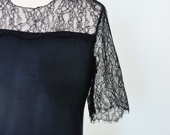 Black Friday SALE Black lace blouse  Jersey top-Bohemian -Lace top -Black- Sheer top- Casual top-rusteam