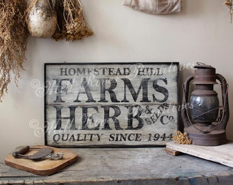 Aged Primitive Farms & Herbs Sellers Wood Sign