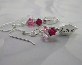 LOVE Earrings, Inspirational Jewelry, Message Jewelry, Sterling Silver Swarovski Crystal Cluster Earrings, Valentine Jewelry, I Love You