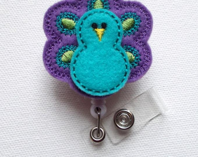 Blue and Purple Peacock - Retractable ID Felt Badge Holder - ID Badge Holder - RN Badge - Nurse Badge Holder - Nursing Badge Clip