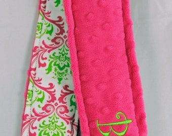 Personalized Name Camera Strap Cover - So Fun Pink and Lime Damask Name on Back