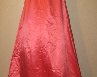 Vtg 60s Salmon Pink Satin Lace Overlay Empire Waist A-Line Sleeveless Formal Gown 38 bust