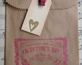 Valentine Treat Bags - Kraft with glitter clothespin and tag ... set of 6