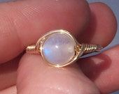 Rainbow Moonstone 14k Yellow Gold Filled Wire Wrapped Gemstone Ring