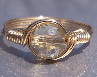 AA Lemon Quartz Ring 14k Gold Filled Wire Wrapped Gemstone Ring Birthstone Ring