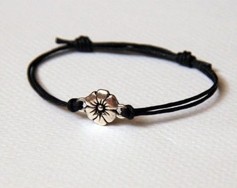Flower Bracelet with double threads / Flower Anklet (many colors to choose)