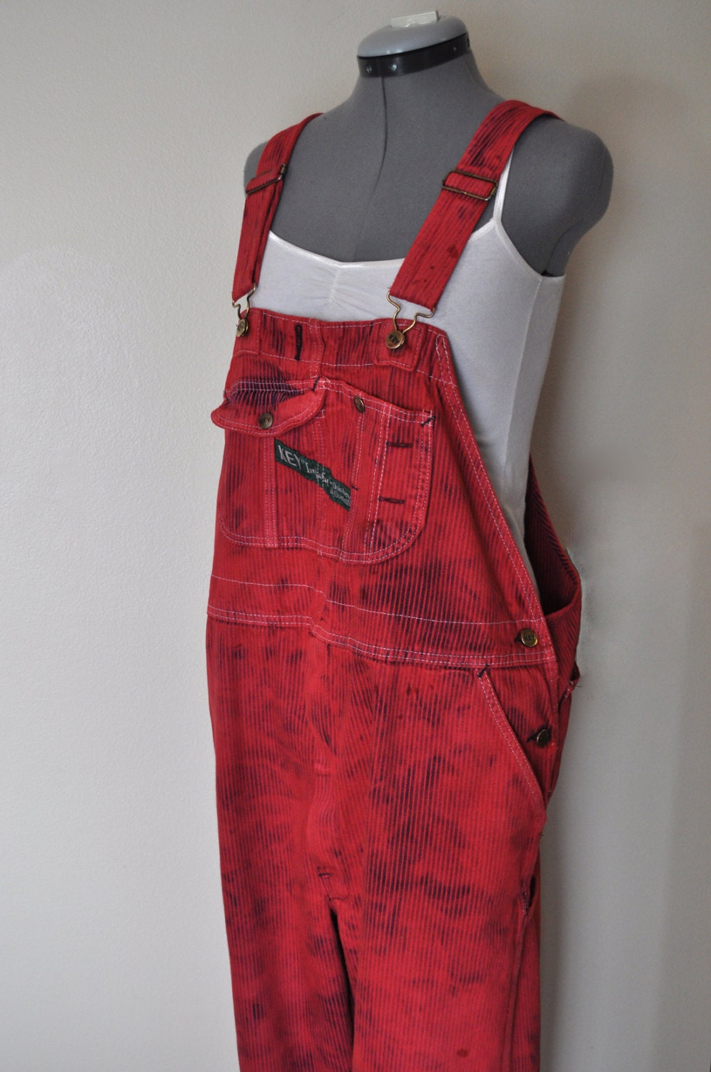 Dyed Bib Overalls Hand Dyed Red Key Imperial Pin Stripe