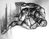 The Thinker-- original ink artwork