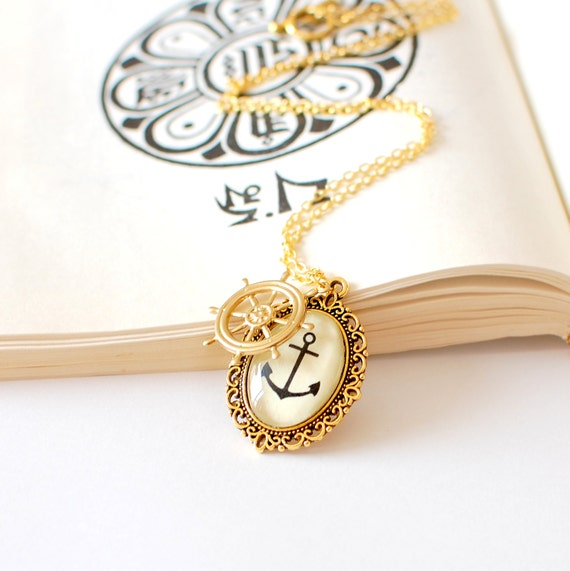 SALE -50% OFF. Anchor Necklace. Gold Nautical Necklace. Anchor Jewelry. Anchor Pendant Necklace. Summer Jewelry.