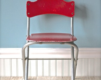 Circa 1950s  Mid Century Baby Butler Folding Childs Folding Chair Red Wood