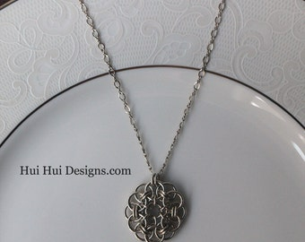 Chainmaille Silver Metalwork Pendant Necklace Ready To Ship