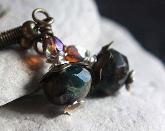 Green/Orange Czech Glass Bead Earrings - A.1559