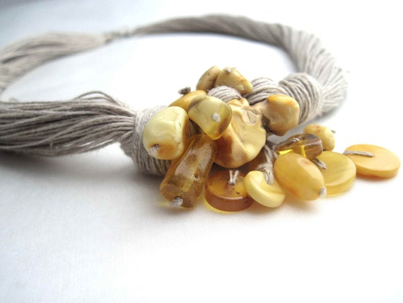 Baltic Amber Linen Necklace Yellow Honey Bee Pendant Fall Fashion Eco Friendly Jewelry Golden Sunny Warm