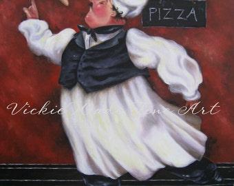 Pizza Chef Art Print, fat chefs wall decor, chef art, chef paintings, fat chef paintings, kitchen decor, art, kitchen art, Vickie Wade art