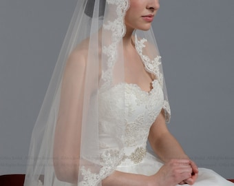 wedding veil, bridal veil, mantilla veil, fingertip length veil, alencon lace veil, wedding veil ivory