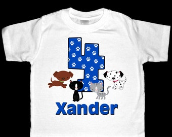 Personalized Cats and Dogs Birthday Shirt or Bodysuit  - Personalized with ANY name and age