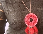 Crochet Bohemian pendant, Boho Jewelry