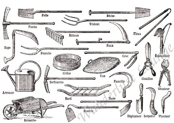 Items similar to garden tools french 1907 dictionary plate for Gardening tools dictionary