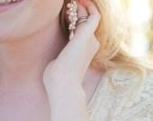 Long Pearl Bridal Earrings, Cluster Pearl Wedding Earrings, Bridal Jewelry