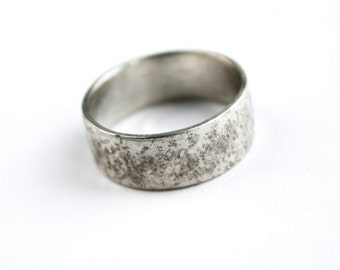 Granite silver ring unisex distressed band ring sterling silver rough texture oxidized brushed minimal contemporary