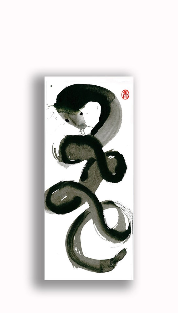 Year of the Snake 2013 Zen Art Original Painting for the Chinese Zodiac New Year