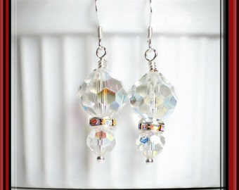 Crystal Earrings / Dangle / Wedding Jewelry / Bridal Earrings / Vintage 1930s AB Crystal Earrings / Something Old, Something New / ON SALE!