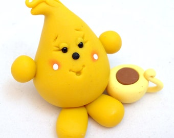 WAKE-UP PARKER with Coffee - Polymer Clay Character Figurine