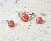 Rhodochrosite ring and earring set