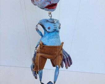 Elliot (by Adam Goldthwaite) OOAK marionette art doll ceramic found object mache