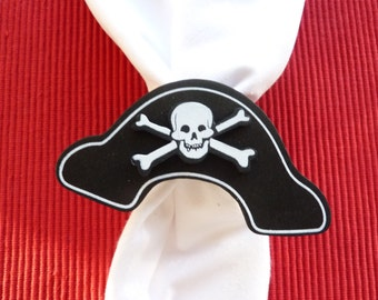 Pirate Hat Skull and Crossbone Napkin Rings - Set of 4