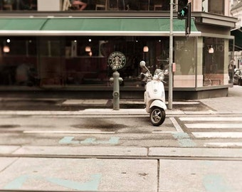 Travel Photography, Coffee House, Green, Beige, Neutral, Starbucks, Art for Kitchen, Vespa Bike, Retro Decor